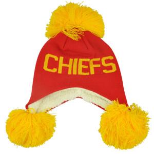 NFL Kansas City Chiefs Blankie Pom Pom Ear Flap Knit Beanie Fleece Winter Hat