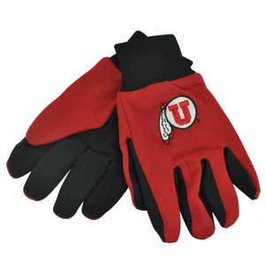 NCAA Utah Utes Utility Gloves Work One Size Red Black College Textured Palms