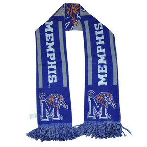 NCAA Memphis Tigers Long Scarf Winter Acrylic Game Day Team Stripe Blue Game