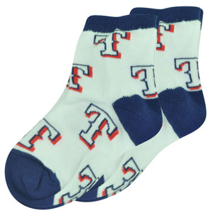 MLB Texas Rangers Set of 2 Toddler 9 - 24 Socks Boys All Over Logo Fan White