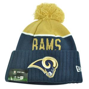 NFL New Era St Louis Rams Sport Knit Beanie Pom Pom Cuffed Hat Winter Toque Navy