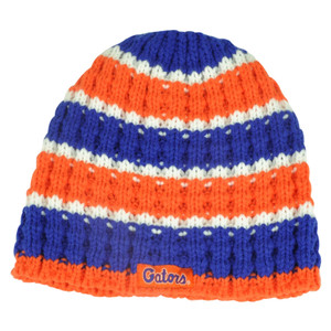 NCAA Florida Gators Knit Beanie Toque Hat Halo Cuffless Striped Winter Crochet