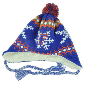 NCAA Florida Gators Jingle Pom Tassels Peruvian Knit Beanie Ear Flap Toque Blue