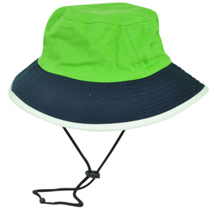 Green Navy Sun Bucket Crusher Fisherman Hat Blank Outdoors One Size Two Tone