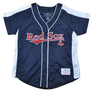 MLB Boston Red Sox Eleanor Junior Womens Ladies Jersey Button Up Baseball