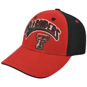 NCAA Texas Tech Red Raiders Two Tone Curved Bill Velcro Arch Red TTU Hat Cap