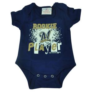 MLB Milwaukee Brewers Wild Horse Infant Bodysuit Creeper Navy Blue Baby Rookie
