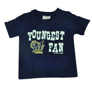 MLB Milwaukee Brewers Haney Toddler Youngest Fan Navy Blue Tshirt Tee Shirt