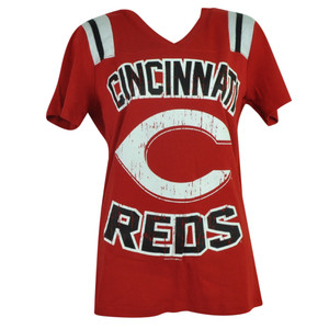 MLB Cincinnati Reds Sue Missy Ladies V Neck Womens Tshirt Tee Distressed Sport
