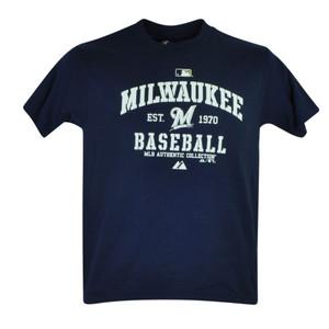 MLB Milwaukee Brewers Drago Jr Tshirt Youth Tee Navy Blue Short Sleeve Cotton