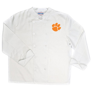 NCAA Clemson Tigers Classic Chef Coat Professional Style Tailgate White
