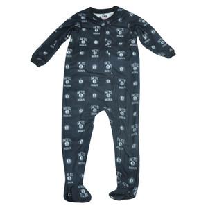 NBA UNK Brooklyn Nets Toddler Footed Pajamas Bodysuit Zipper Sleep Wear Black