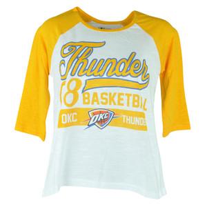 NBA UNK Oklahoma City Thunder Women Ladies Baseline 3 Quarter Sleeve Tee