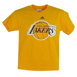 NBA Los Angeles Lakers Deerlodge Jr Youth Shirt Tee Yellow Tshirt Adidas