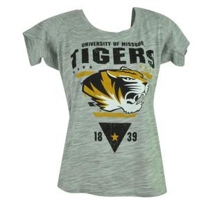 NCAA Missouri Tigers Mizzou Distressed Womens Ladies Tshirt Tee Gray Fitted