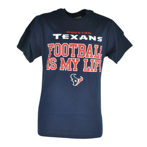 NFL Houston Texans Football Is My Life Mens Navy Blue Tshirt Tee Shirt
