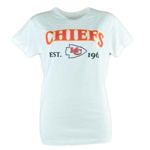 NFL Kansas City Chiefs Commissioner Women Ladies White Football Tshirt Tee