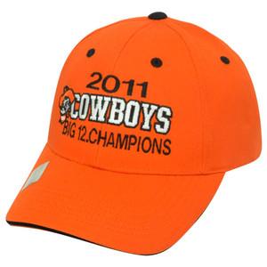 2011 Cowboys Big 12 Champions Oklahoma State Velcro Twill Cotton Hat Cap NCAA