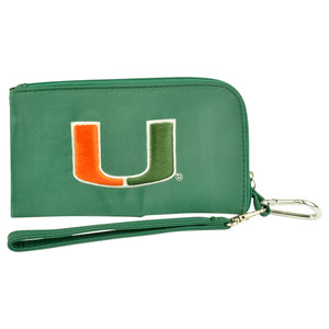 NCAA Miami Hurricanes Clip On ID Wallet Wristlet Phone Case Ladies Womens Green