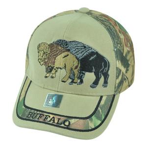 Buffalo Wild Animal Camouflage Camo Two Tone Outdoors Velcro Hat Cap Camping
