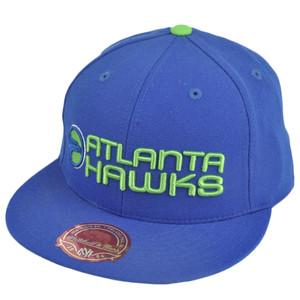 NBA Mitchell Ness TK40 Atlanta Hawks Blue Alternate Fitted Flat Bill Hat Cap