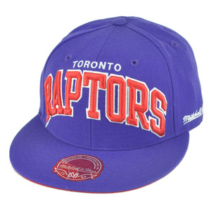 NBA Mitchell Ness TQ40 Toronto Raptors Arch Flat Bill Fitted Hat Cap