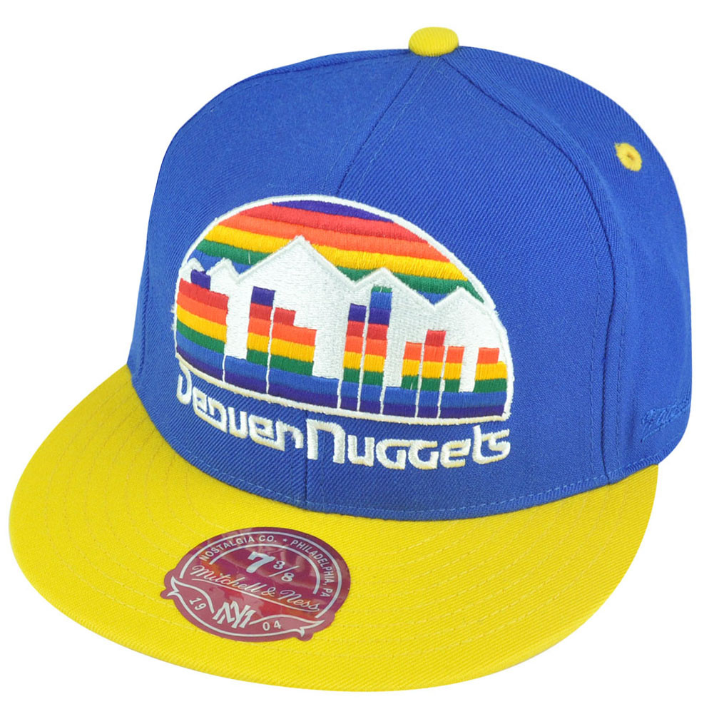 29e67395560 NBA Mitchell Ness Denver Nuggets TU20 2 Tone XL Logo Fitted Hat Cap. Image 1