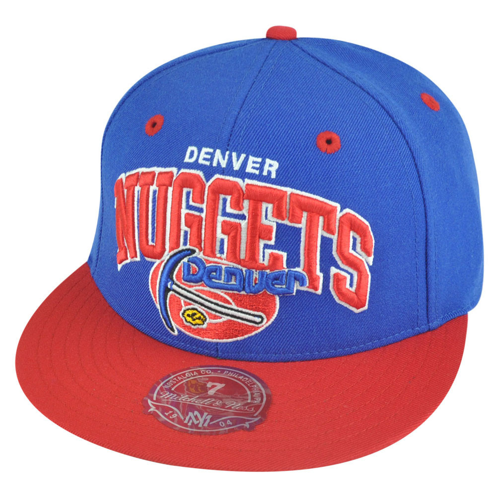 1532f4249 NBA Mitchell Ness Denver Nuggets TU14 2 Tone Arch Fitted Hat Cap. Image 1