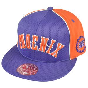 NBA Mitchell Ness Phoenix Suns TU61 Wool Mesh Flat Bill Fitted Hat Cap