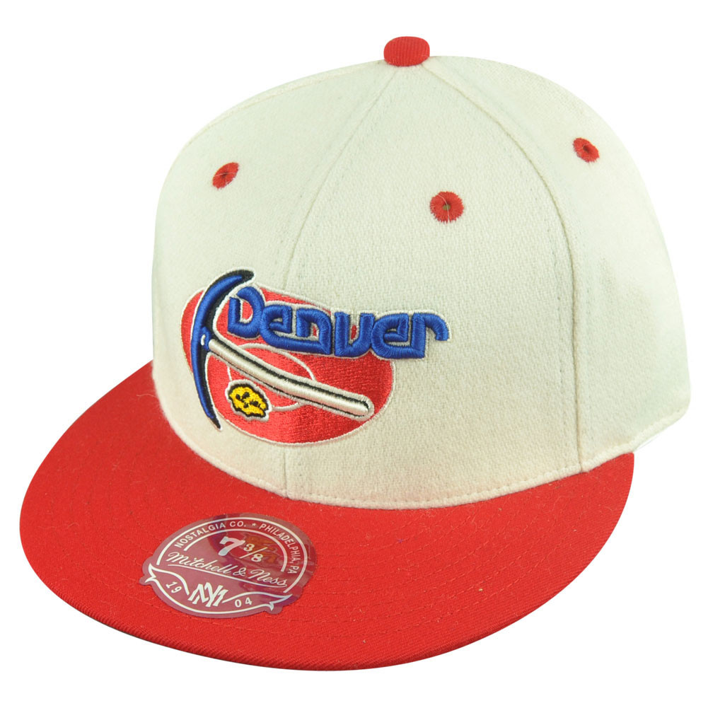 ec059540ebd NBA Mitchell Ness Denver Nuggets TS55 Flannel 2 Tone Fitted Hat Cap. Image 1