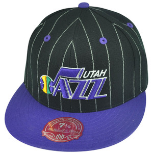 NBA Mitchell Ness Utah Jazz TS52 Pinstripe Fitted Flat Bill Hat Cap