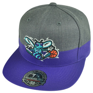 NBA Mitchell Ness G147 Charlotte Hornets Charcoal Heather Fitted Hat Cap