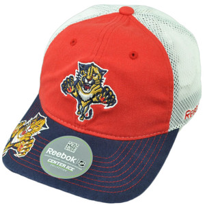 NHL Reebok Florida Panthers ES18 Flex Fit Small Medium Mesh Relaxed Hat Cap Red