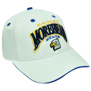 NCAA EAGLES MOREHEAD STATE MSU HAT CAP WHITE BLUE