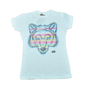 Animal Planet Aztec Wolf Distressed Graphic Women Ladies White Tshirt Tee