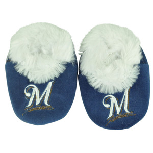 MLB Milwaukee Brewers Infant Baby Faux Fur Sport Slippers Warm Booties