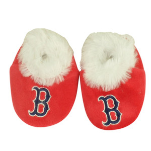 MLB Boston Red Sox Infant Baby Faux Fur Sport Team Slippers Warm Booties