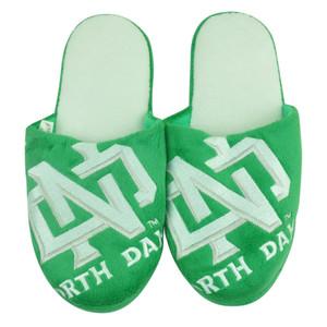 NCAA North Dakota Fighting Sioux Slide Slippers Green Mens Fleece Bed Fits