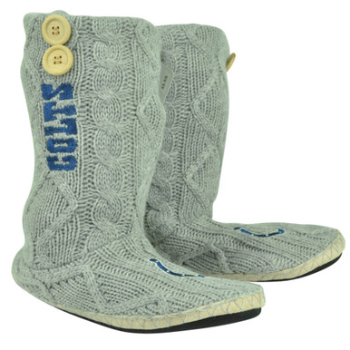 ece0bf36121 NFL Indianapolis Colts Button Cable Knit Boots Crochet Womens Ladies Grey -  Cap Store Online