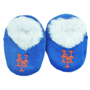 MLB New York Mets Infant Faux Fur Sport Slipper Warm Booties Boot Blue