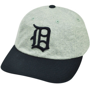 MLB American Needle Detroit Tigers Relaxed Fit Gray Cotton Snap Buckle Hat Cap