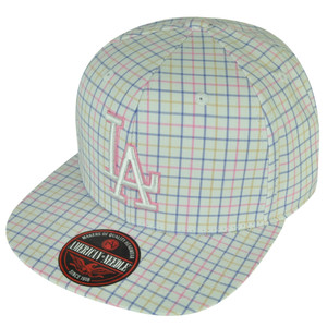 MLB American Needle Los Angeles Dodgers Pink Plaid Clip Buckle Hat Cap Flat Bill