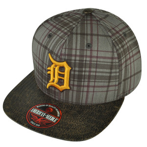 MLB American Needle Detroit Tigers Brown Plaid Flat Bill Clip Buckle Hat Cap
