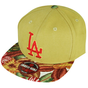 MLB American Needle Los Angeles Dodgers Retreat Floral Flat Bill Hat Cap Khaki