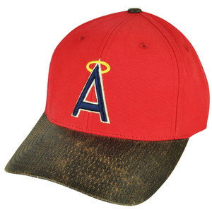 MLB American Needle Los Angeles Angels of Anaheim Sun Buckle Red Hat Cap Suede