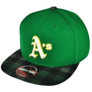 MLB American Needle Oakland Athletics Two Toned Green Plaid Strap Buckle Hat Cap
