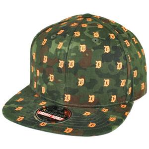 MLB American Needle Detroit Tigers Flat Bill Snapback Hat Cap Mini Logos Green