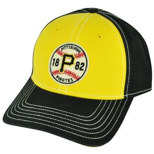 MLB American Needle Pittsburgh Pirates Two Toned Yellow Sun Buckle Black Hat Cap