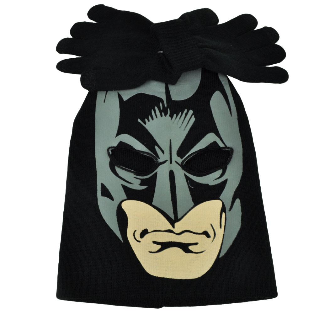 e79d2911cda Batman Face Print Mask Youth Knit   Gloves Set Beanie Dark Knight ...