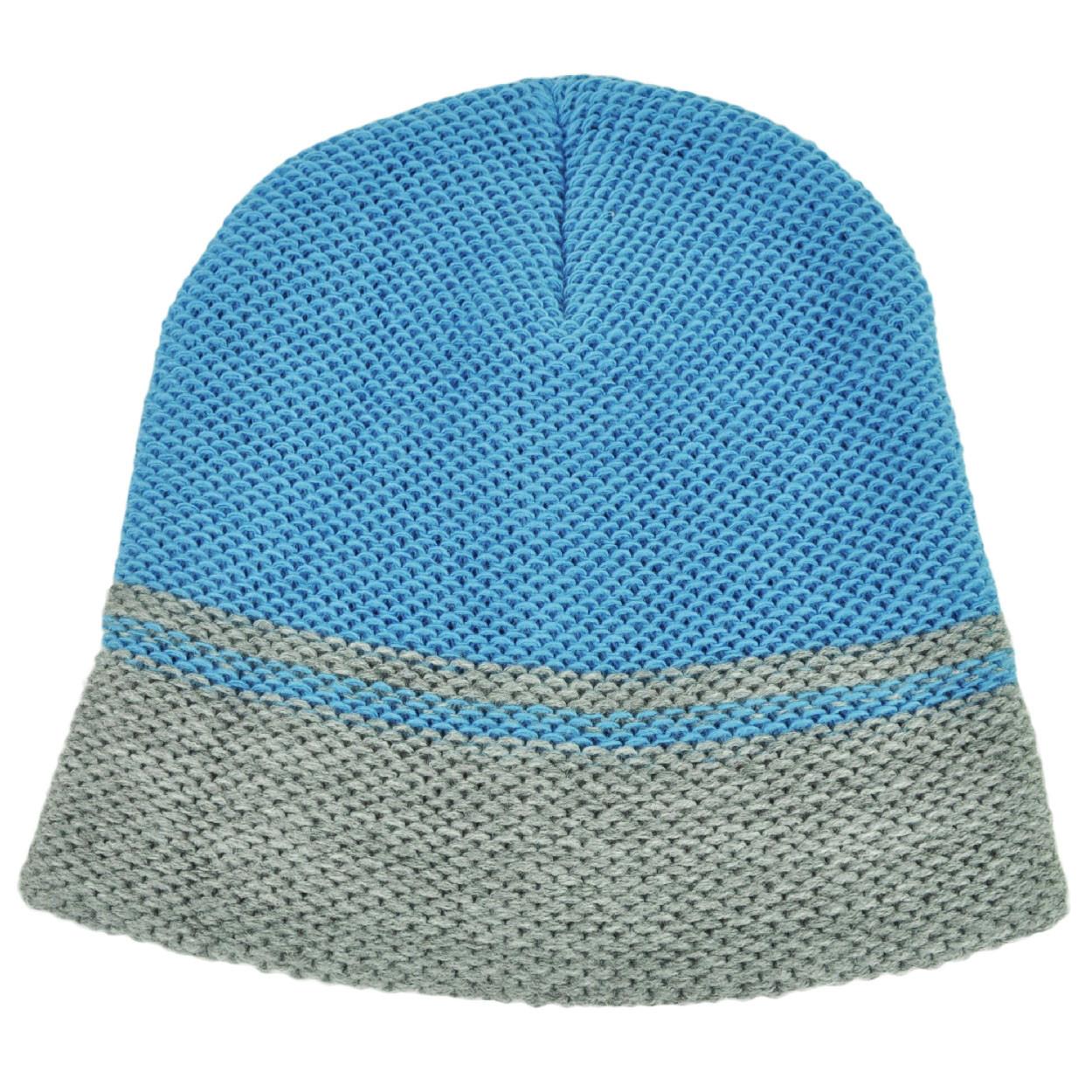 Baby Blue Gray Cuffless Knit Beanie Toque Striped Woven Blank Plain ... 34a82e6a5c44